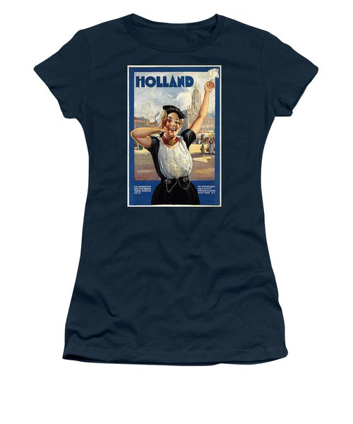 Happy Girl In Traditional Dutch Attire - Vintage Travel Poster From Holland Women's T-Shirt
