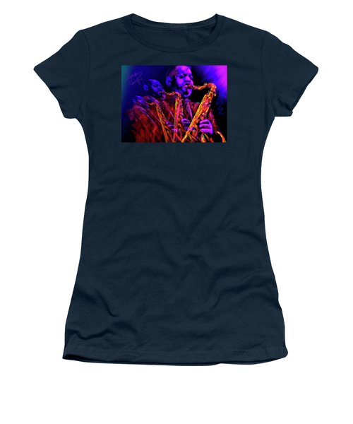 Women's T-Shirt (Junior Cut) featuring the painting Hawk by DC Langer
