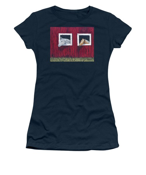 Women's T-Shirt featuring the painting He And She by Kathryn Riley Parker