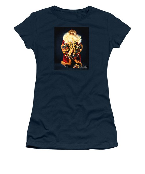 Women's T-Shirt (Junior Cut) featuring the painting Here Comes Santa by Chris Armytage