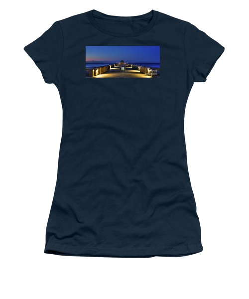 Women's T-Shirt (Junior Cut) featuring the photograph Here It Comes Now Folly Beach Pier Sunrise Art by Reid Callaway