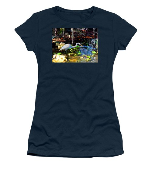 Women's T-Shirt (Junior Cut) featuring the painting Heron In Quiet Pool by David  Van Hulst