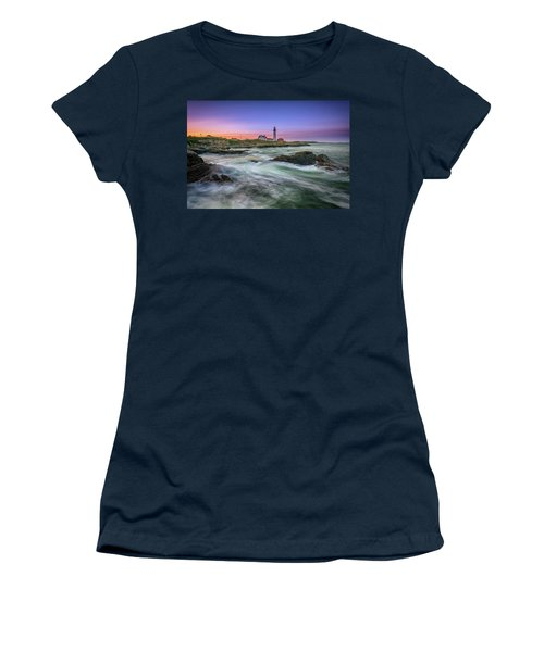Women's T-Shirt (Athletic Fit) featuring the photograph High Tide At Portland Head Lighthouse by Rick Berk