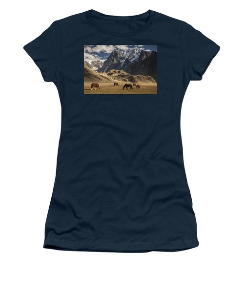 Women's T-Shirt featuring the photograph Horses Grazing Under Siula Grande by Colin Monteath
