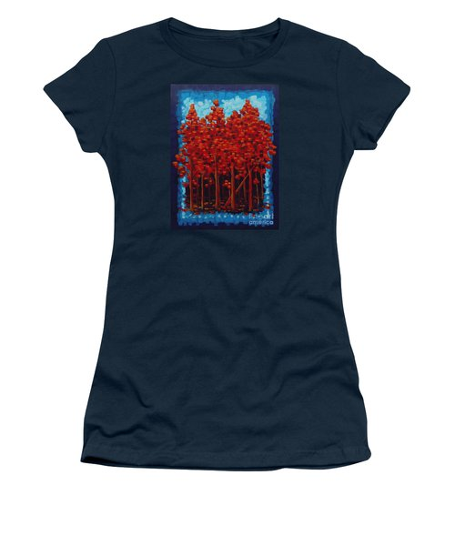 Women's T-Shirt (Junior Cut) featuring the painting Hot Reds by Holly Carmichael