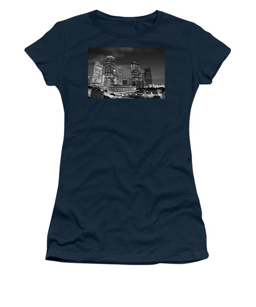 Houston By Night In Black And White Women's T-Shirt (Athletic Fit)