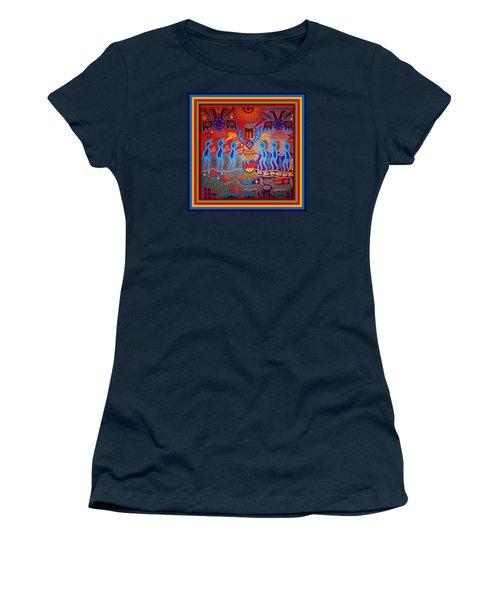 Women's T-Shirt (Athletic Fit) featuring the digital art Huichol Tribal Fire Ritual by Vagabond Folk Art - Virginia Vivier