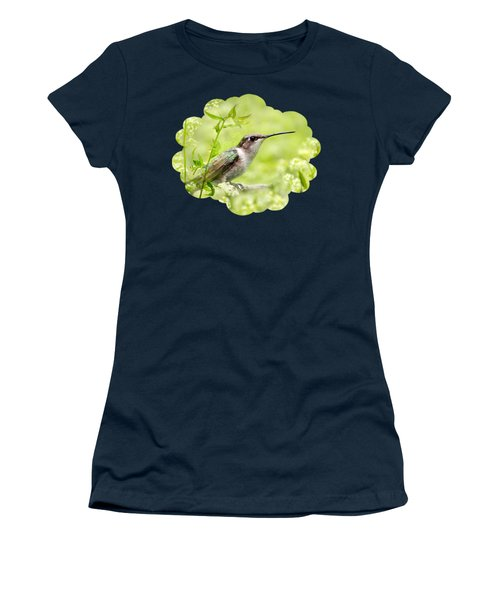 Hummingbird Hiding In Flowers Women's T-Shirt (Junior Cut) by Christina Rollo