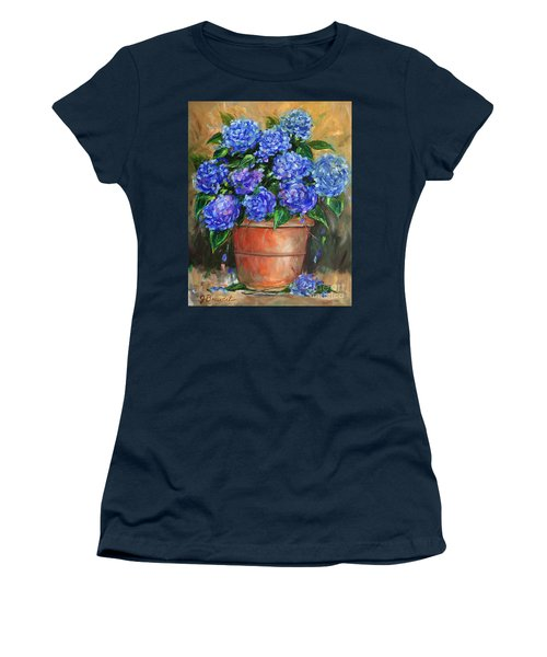 Hydrangeas In Pot Women's T-Shirt (Junior Cut) by Jennifer Beaudet