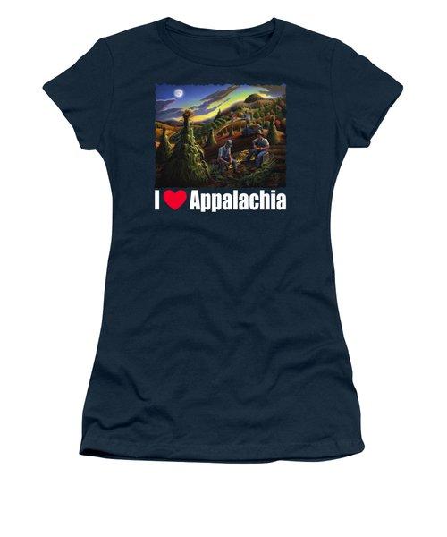 I Love Appalachia T Shirt - Farmers Shucking Corn Til Sunset 2 - Rural Appalachian Landscape Women's T-Shirt
