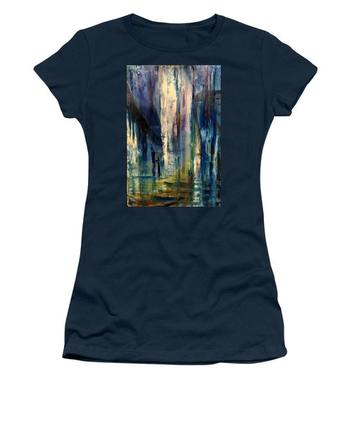 Women's T-Shirt featuring the painting Icy Cavern Abstract by Nicolas Bouteneff