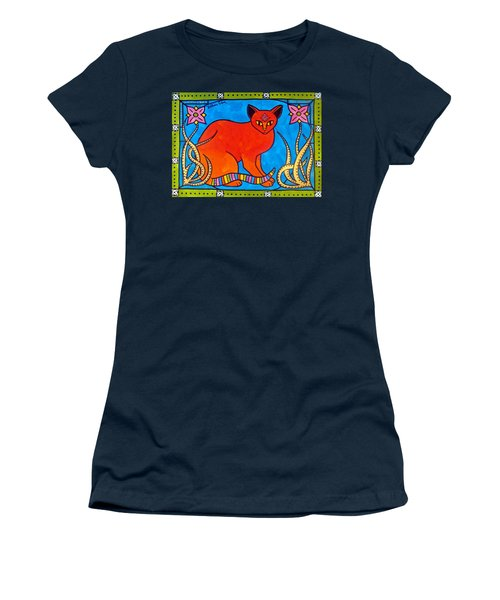 Women's T-Shirt (Junior Cut) featuring the painting Indian Cat With Lilies by Dora Hathazi Mendes