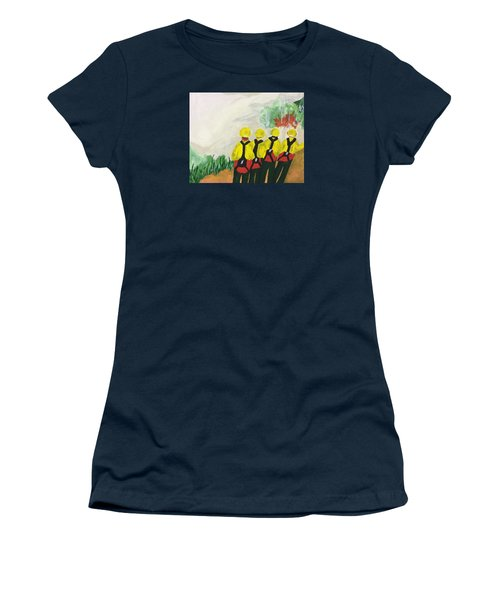 Women's T-Shirt (Junior Cut) featuring the painting Initial Attack by Erika Chamberlin