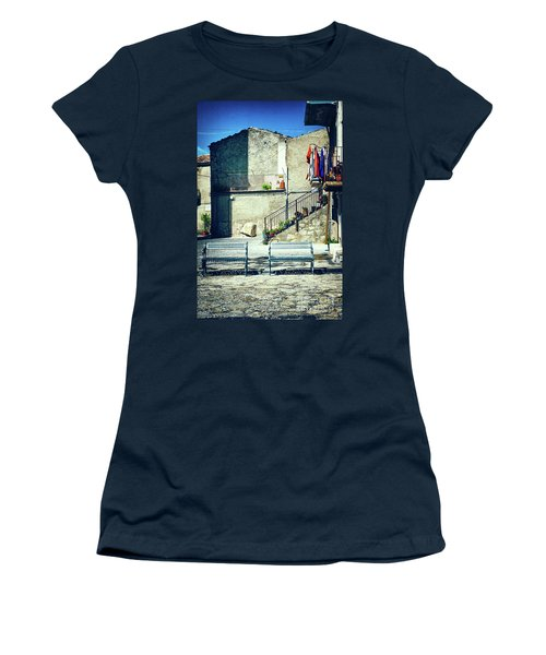 Women's T-Shirt (Athletic Fit) featuring the photograph Italian Square With Benches by Silvia Ganora