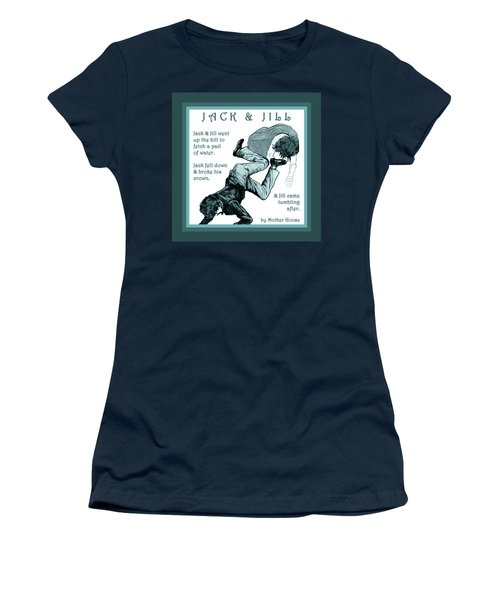 Women's T-Shirt (Junior Cut) featuring the painting Jack And Jill Vintage Mother Goose Nursery Rhyme by Marian Cates