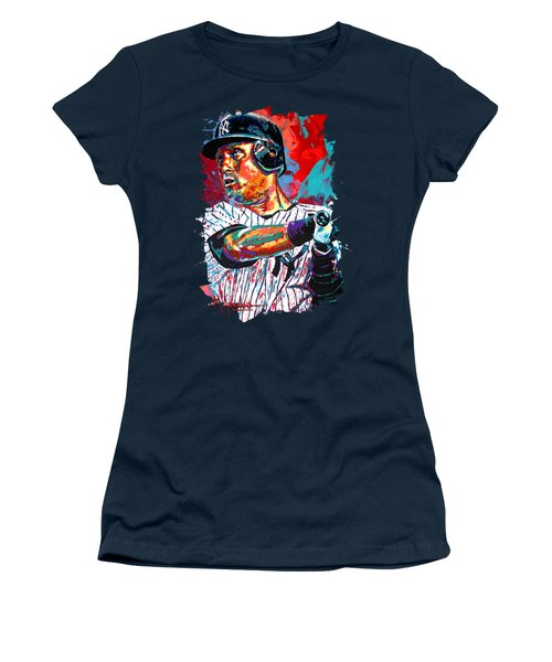 Jeter At Bat Women's T-Shirt (Junior Cut) by Maria Arango