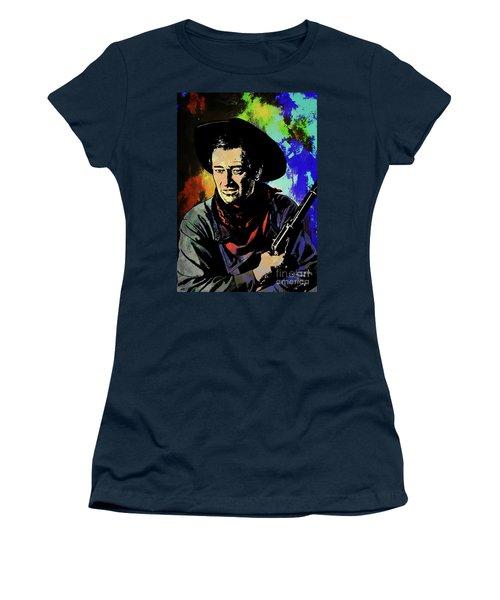 Women's T-Shirt (Junior Cut) featuring the painting John Wayne, by Andrzej Szczerski