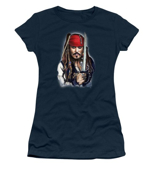 Johnny Depp As Jack Sparrow Women's T-Shirt (Junior Cut) by Melanie D