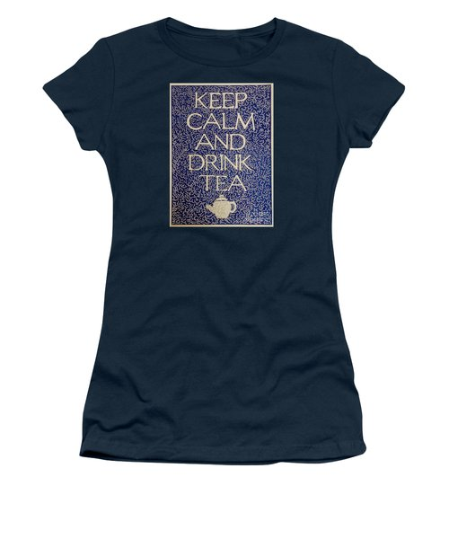 Women's T-Shirt (Junior Cut) featuring the drawing Keep Calm And Drink Tea by Donna Huntriss