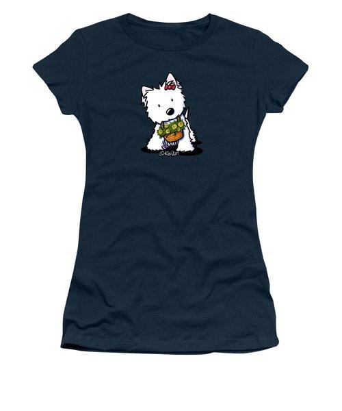 Kiniart Flower Basket Westie Women's T-Shirt (Athletic Fit)
