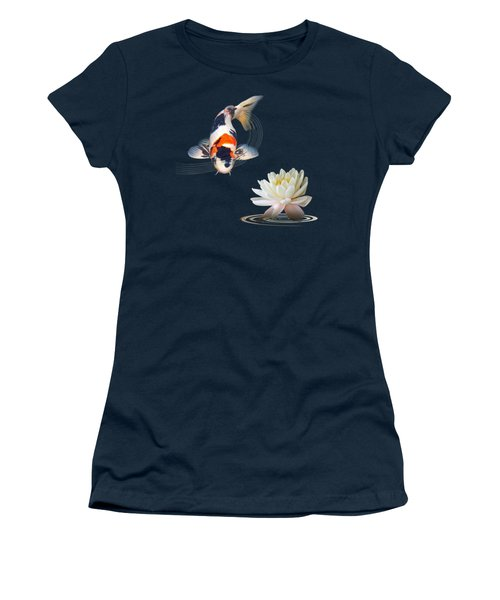Koi Carp Abstract With Water Lily Square Women's T-Shirt (Junior Cut)
