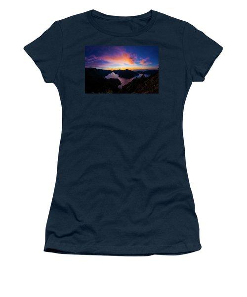 Lake Crescent Sunset Women's T-Shirt (Junior Cut) by Pelo Blanco Photo