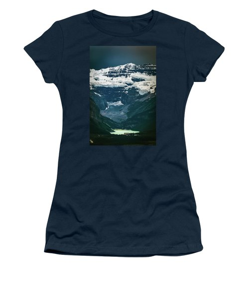 Women's T-Shirt (Athletic Fit) featuring the photograph Lake Louise At Distance by William Lee