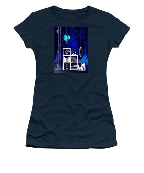 Lamps, Books, Bamboo -- Negative Women's T-Shirt (Athletic Fit)