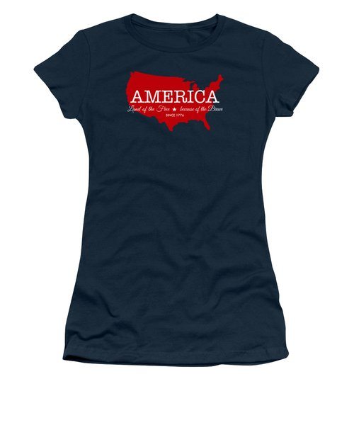 Women's T-Shirt featuring the digital art Land Of The Free by Nancy Ingersoll