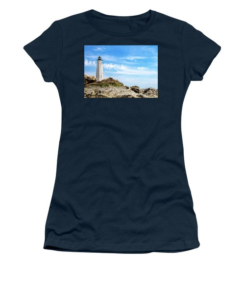 Women's T-Shirt (Junior Cut) featuring the photograph Lighthouse And Rocks by Dawn Romine