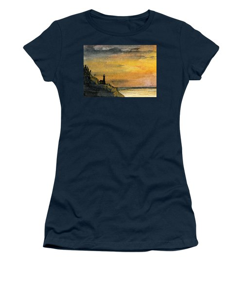 Lighthouse Oversees Coast Women's T-Shirt (Junior Cut) by R Kyllo