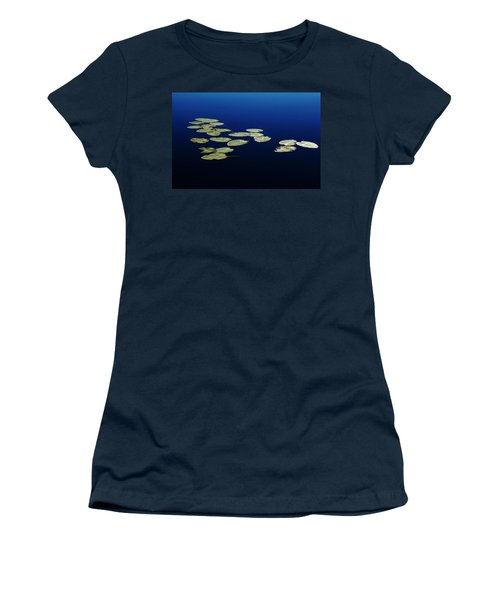 Lily Pads Floating On River Women's T-Shirt (Junior Cut) by Debbie Oppermann