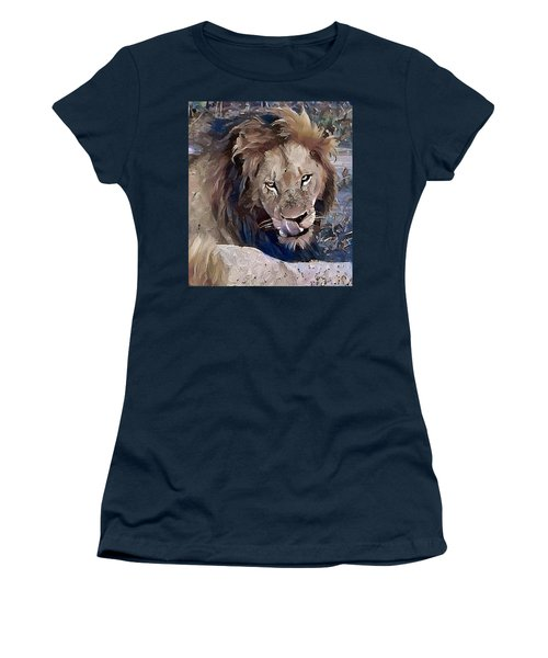 Lion With Tongue Women's T-Shirt (Athletic Fit)
