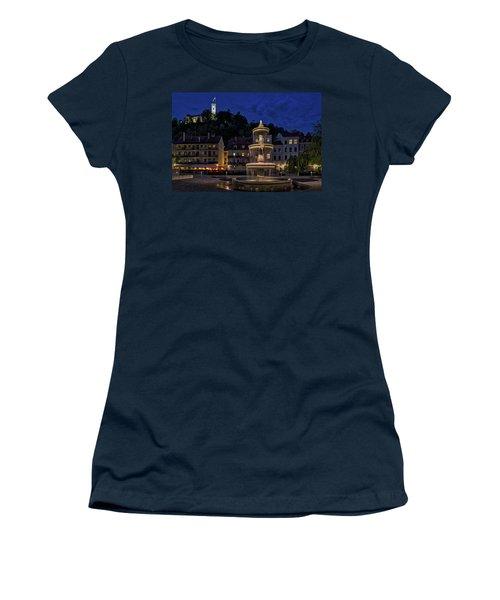 Women's T-Shirt (Athletic Fit) featuring the photograph Ljubljana Night Scene #3 - Slovenia by Stuart Litoff