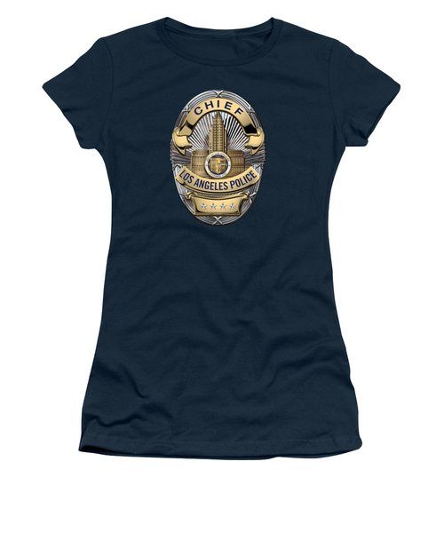 Los Angeles Police Department  -  L A P D  Chief Badge Over Blue Velvet Women's T-Shirt (Junior Cut) by Serge Averbukh