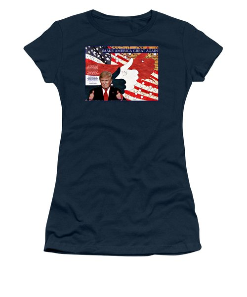 Women's T-Shirt (Junior Cut) featuring the digital art Make America Great Again - President Donald Trump by Glenn McCarthy Art and Photography