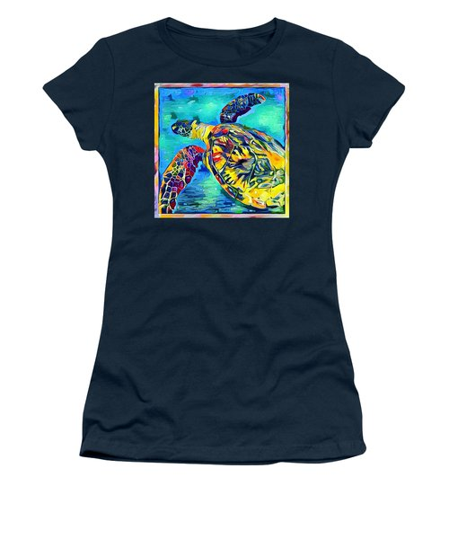 Women's T-Shirt (Junior Cut) featuring the digital art Malia The Turtle by Erika Swartzkopf