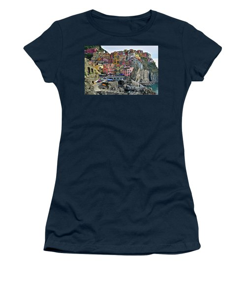 Women's T-Shirt (Junior Cut) featuring the photograph Manarola Cinque Terre Italy by Frozen in Time Fine Art Photography
