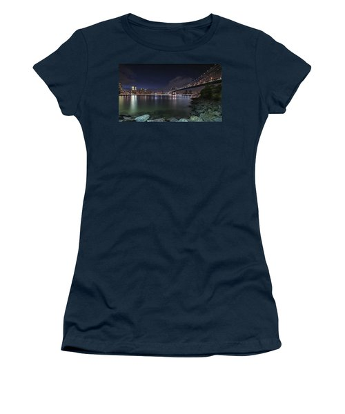 Manhattan Bridge Twinkles At Night Women's T-Shirt