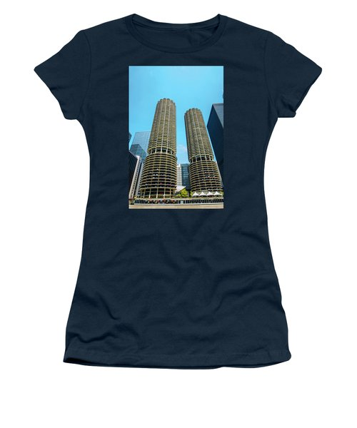 Marina City Chicago Women's T-Shirt (Junior Cut) by Deborah Smolinske