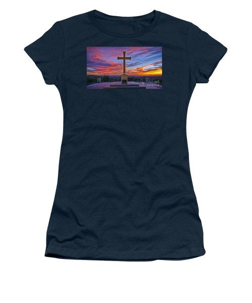 Christian Cross And Amazing Sunset Women's T-Shirt (Junior Cut) by Sam Antonio Photography