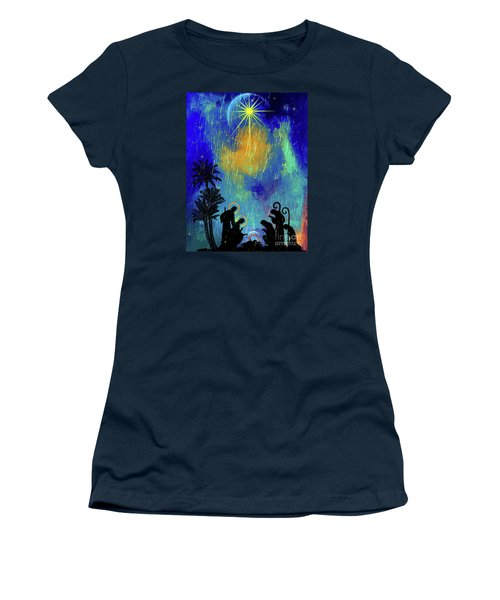Women's T-Shirt (Junior Cut) featuring the painting  Merry Christmas To All. by Andrzej Szczerski