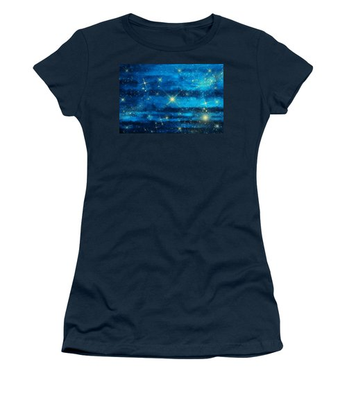 Midnight Blue Sky With Stars Women's T-Shirt (Athletic Fit)