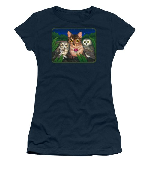 Women's T-Shirt (Athletic Fit) featuring the painting Midnight Watching - Abyssinian Cat Saw Whet Owls by Carrie Hawks