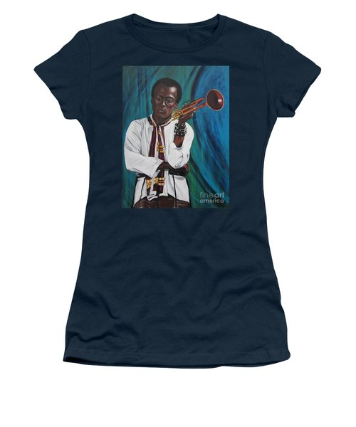 Miles-in A Really Cool White Shirt Women's T-Shirt (Junior Cut) by Sigrid Tune