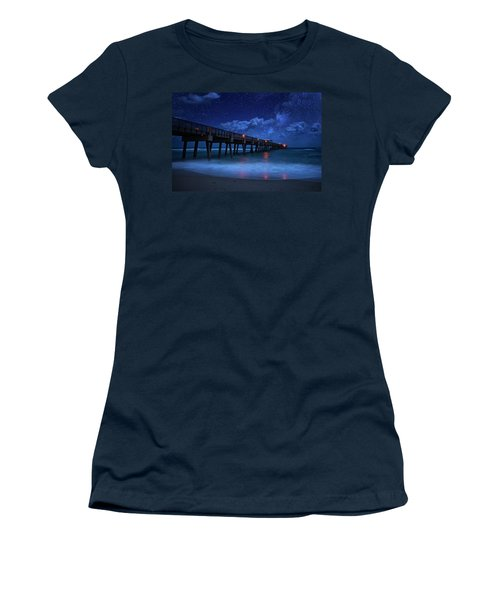 Milky Way Over Juno Beach Pier Under Moonlight Women's T-Shirt