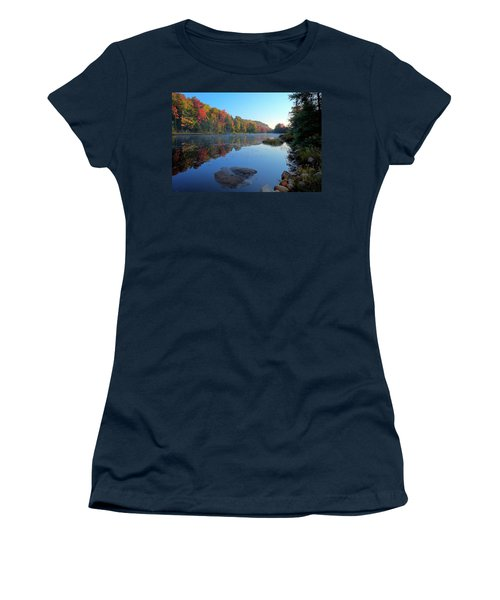 Women's T-Shirt (Athletic Fit) featuring the photograph Misty Morning On The Pond by David Patterson