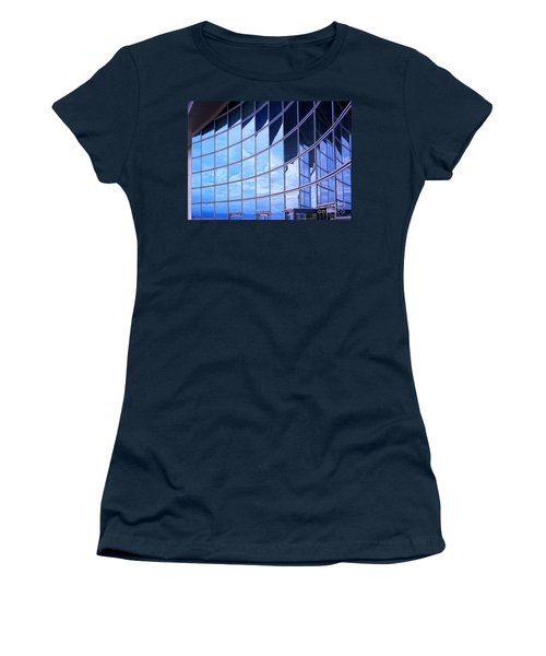 Women's T-Shirt (Athletic Fit) featuring the photograph Modern Building Facade With Reflection by Yali Shi