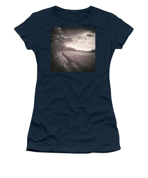 #monochrome #landscape  #field #trees Women's T-Shirt