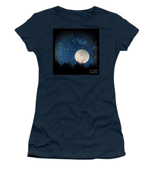 Moon, Tree And Stars Women's T-Shirt